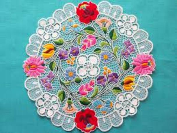 ハンガリーの有名なカロチャ刺繍 コースターイメージ画像