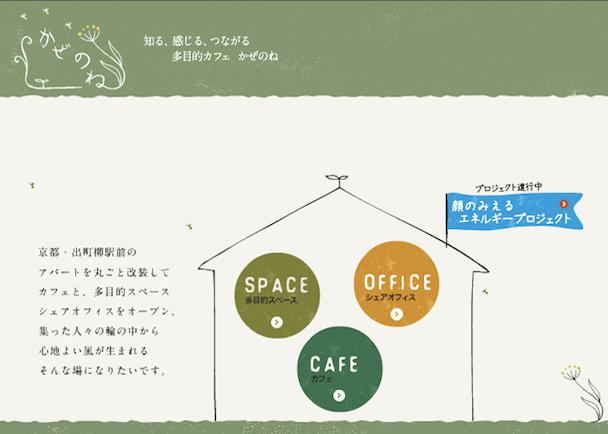 京都・出町柳駅前 多目的カフェかぜのね 顔のみえるエネルギーを拡げるプロジェクト