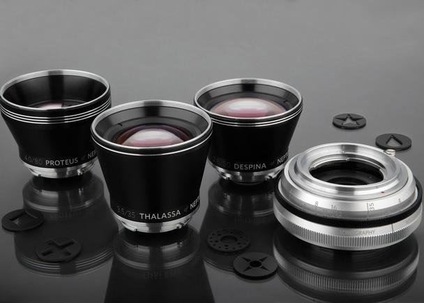 手のひらにおさまる35mm、50mm、80mmのレンズセットNeptune Lens