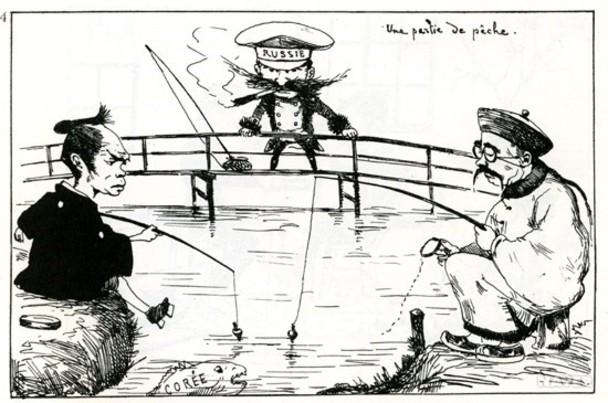 「日中露による朝鮮釣り」 by フランス人風刺画家ビゴー