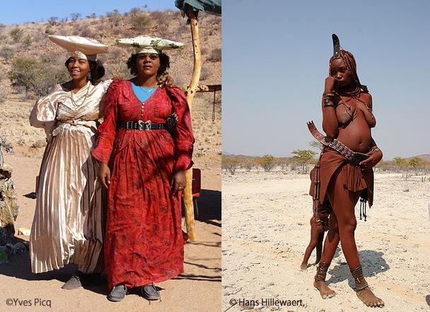左がヘレロ族、右はヒンバ族